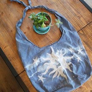Handbags - Blue satchel with sun